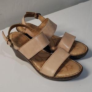 Born Light Pink Leather Wedge Sandals Sz 7.5